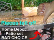 Home Depot poor quality patio furniture