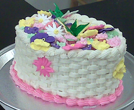 Flower Basket - Orange Cake with Riyal Icing Flowers & Buttercream Icing