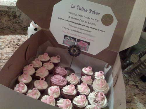 Cupcakes with Irich Cream Buttercream icing & Fondant Pink Ribbon